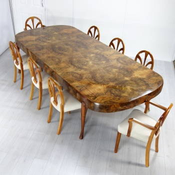 Art Deco Extending Dining Table and Eight chairs by Maurice Adams 1930's