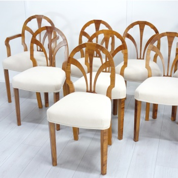Art Deco Set of Eight dining Chairs Maurice Adams 1930's
