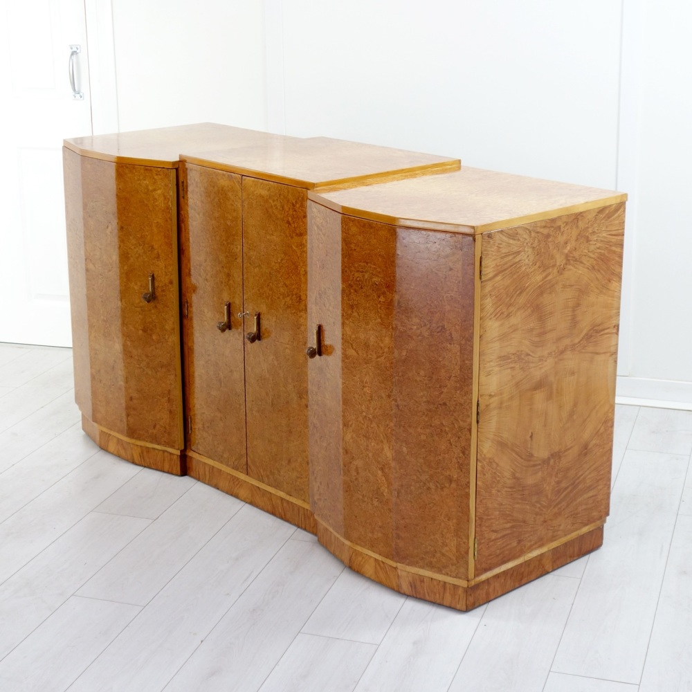 Art Deco Breakfront Sideboard Burr Maple 1930's