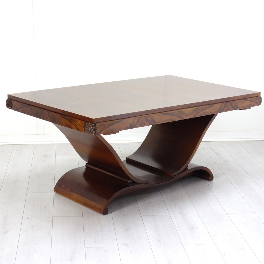 Art Deco U-Base Dining Table French 1930's
