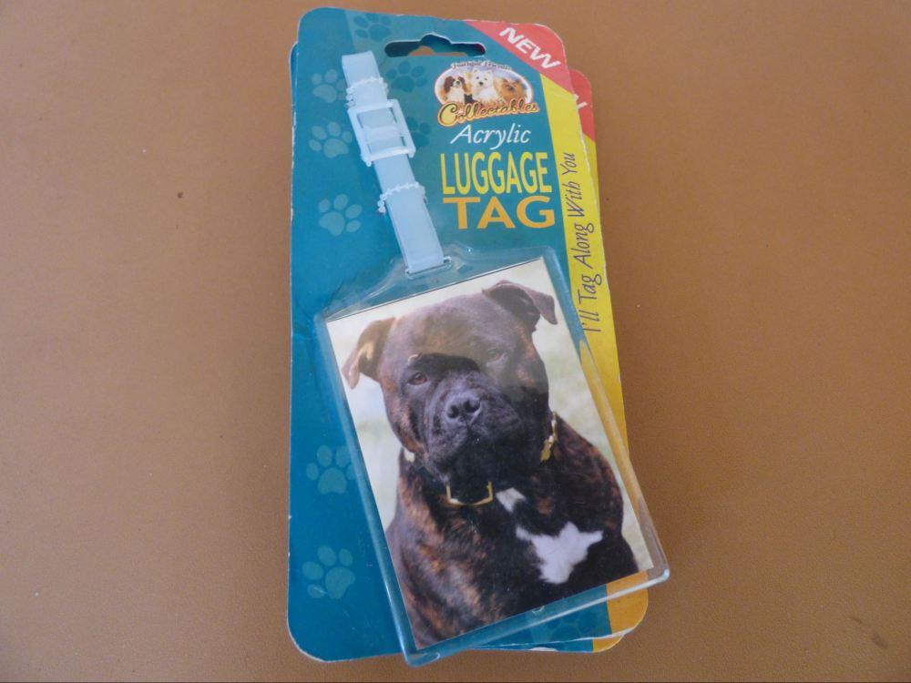 Dark Brindle Staffordshire Bull Terrier- Acrylic Luggage Tag