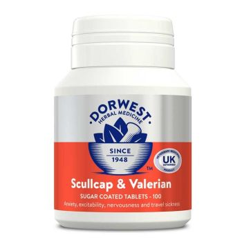 Scullcap & Valerian Tablets For Dogs And Cats for Anxiety and Behaviour - 100