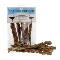 JR Pets Braided Ostrich Pack of 5  ~~~Long Lasting Treat~~~  Super Low Fat <10%