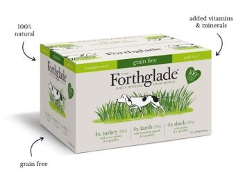 Forthglade Complete Adult Dog Grain Free Turkey, Duck & Lamb  - Variety pack (12x395g)