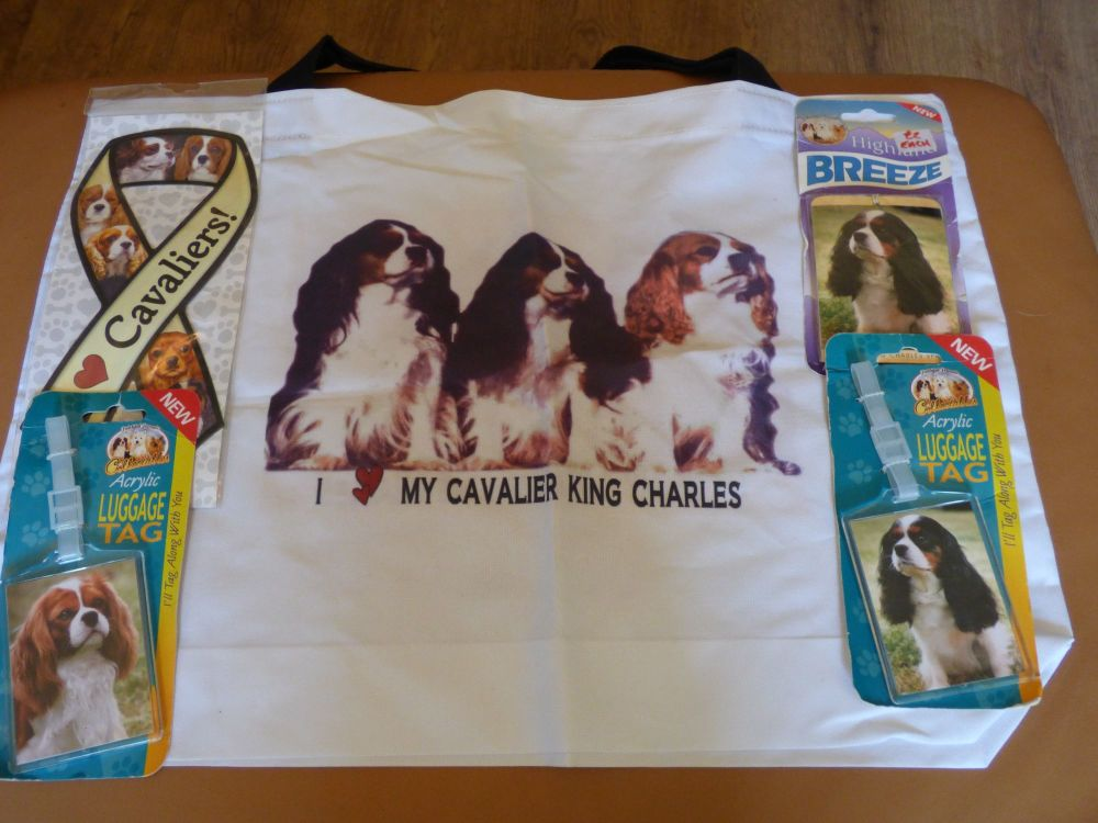 Z Cavalier King Charles Spaniel Trio Cotton Tote Bag