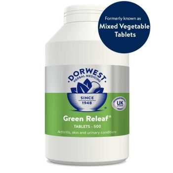Dorwest Green Releaf Tablets For Dogs And Cats for Joints, Mobility, Skin & Coat - 500