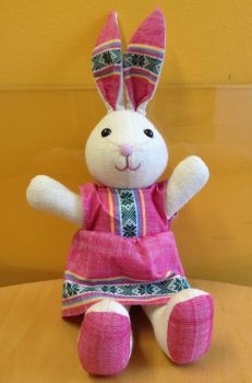 Bunny rabbit toy in dress from Vietnam