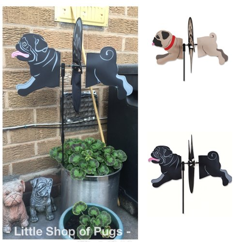Black Pug Garden Wind Catcher