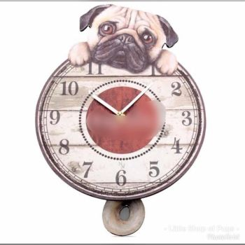 Wagging Pug Wall Clock