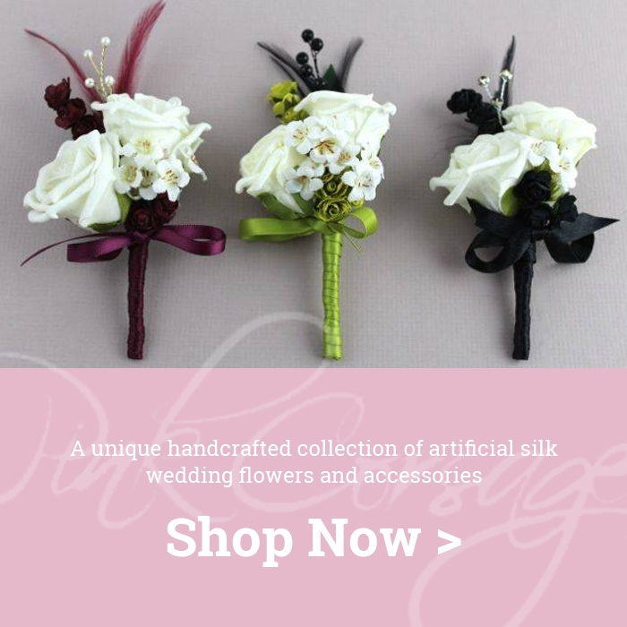 Three artificial wedding corsages