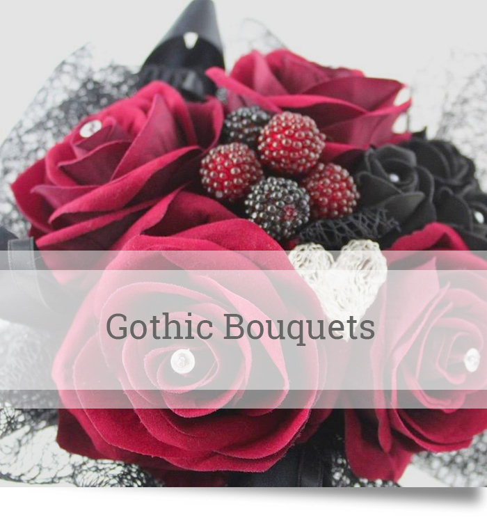 Red silk rose gothic bouquet