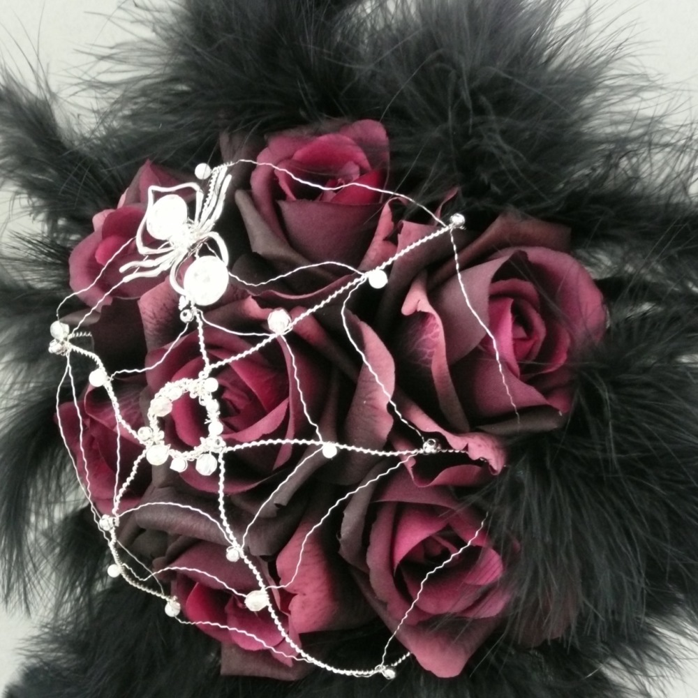 Red Silk Rose Flower Silver Wired Spider Gothic Hand-Tied Bridal Bouquet