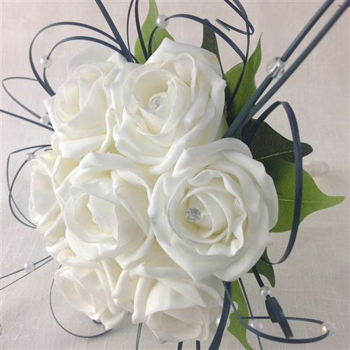 White Rose Diamante Handtied Bridal Bouquet