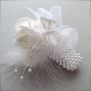 Handmade Foam White Rose Butterfly Feathered Pearled Band Prom Wrist Corsage