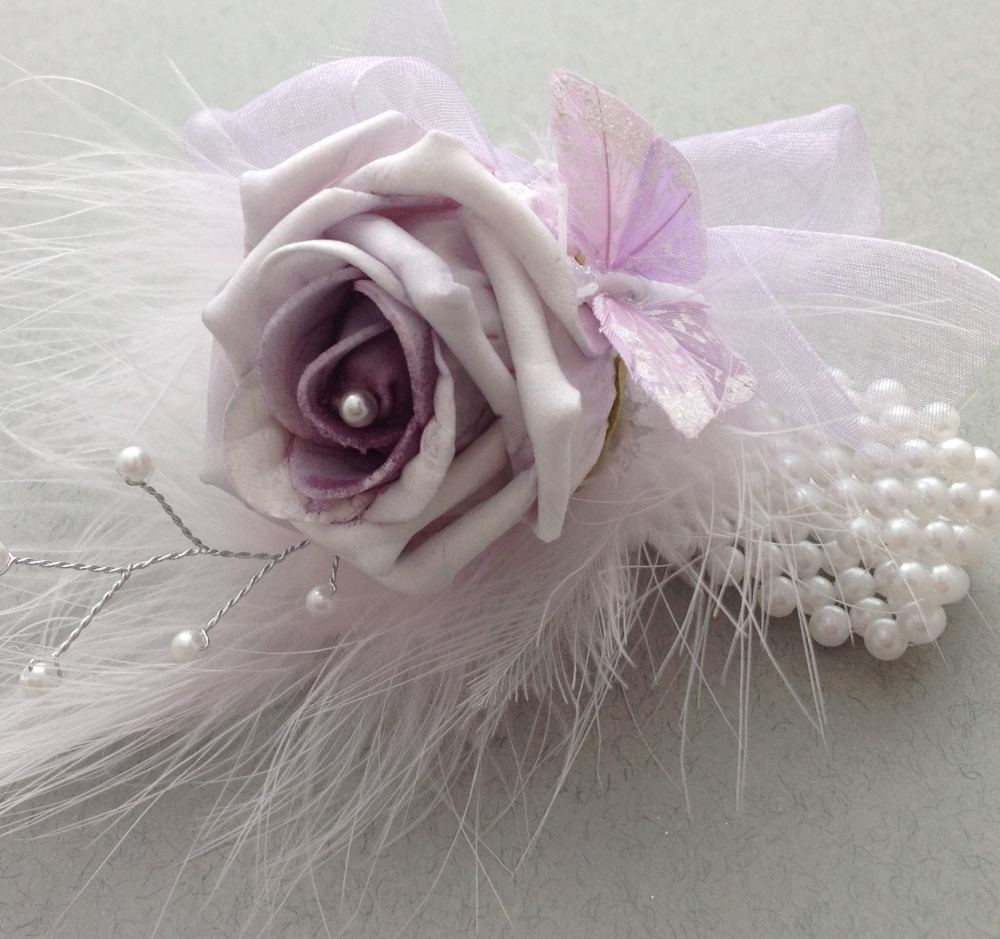 Lilac Artificial Rose Butterfly Feathers Pearl Prom Wrist Corsage