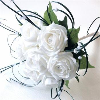 White Roses Beaded Beargrass Hand-Tied Bridesmaid Bouquet