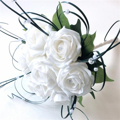 White Foam Rose Bridesmaid Hand-tied Bouquet