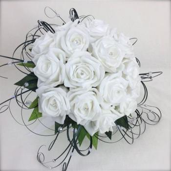 White Roses Crystal Pearled Beargrass Hand-Tied Bridal Bouquet