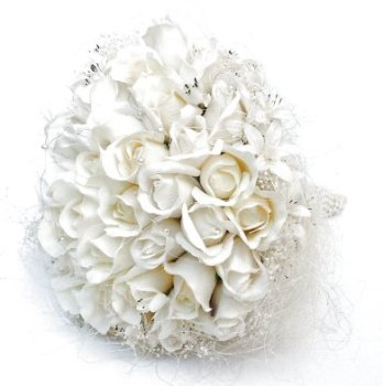 Ivory Artificial Bud Roses Pearled Handle Hand-tied Bridal Bouquet