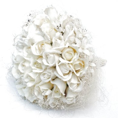 Ivory Silk Bud Rose wedding bouquet