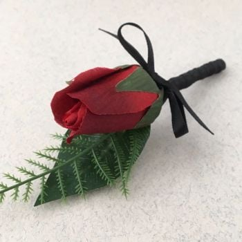 Artificial Red Silk Bud Rose Black Satin Bound Wedding Buttonhole