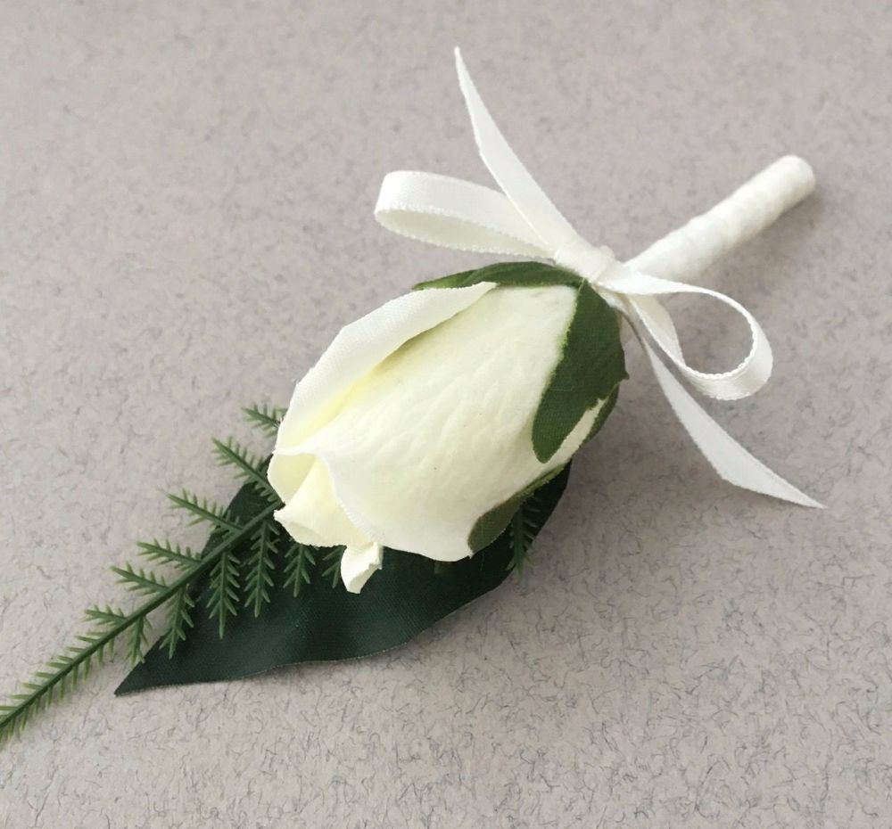 Silk ivory Bud Rose Satin Bound Stem Wedding Buttonhole