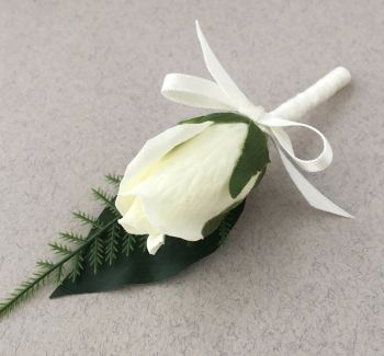 Artificial Ivory Bud Silk Rose Satin Bound Stem Wedding Guest Buttonhole