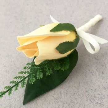 Artificial Pale Yellow Bud Rose Satin Bound Wedding Buttonhole