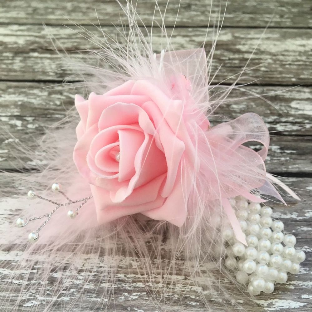 Handmade Foam Pink Rose Butterfly Feathered Pearled Band Wrist Corsage