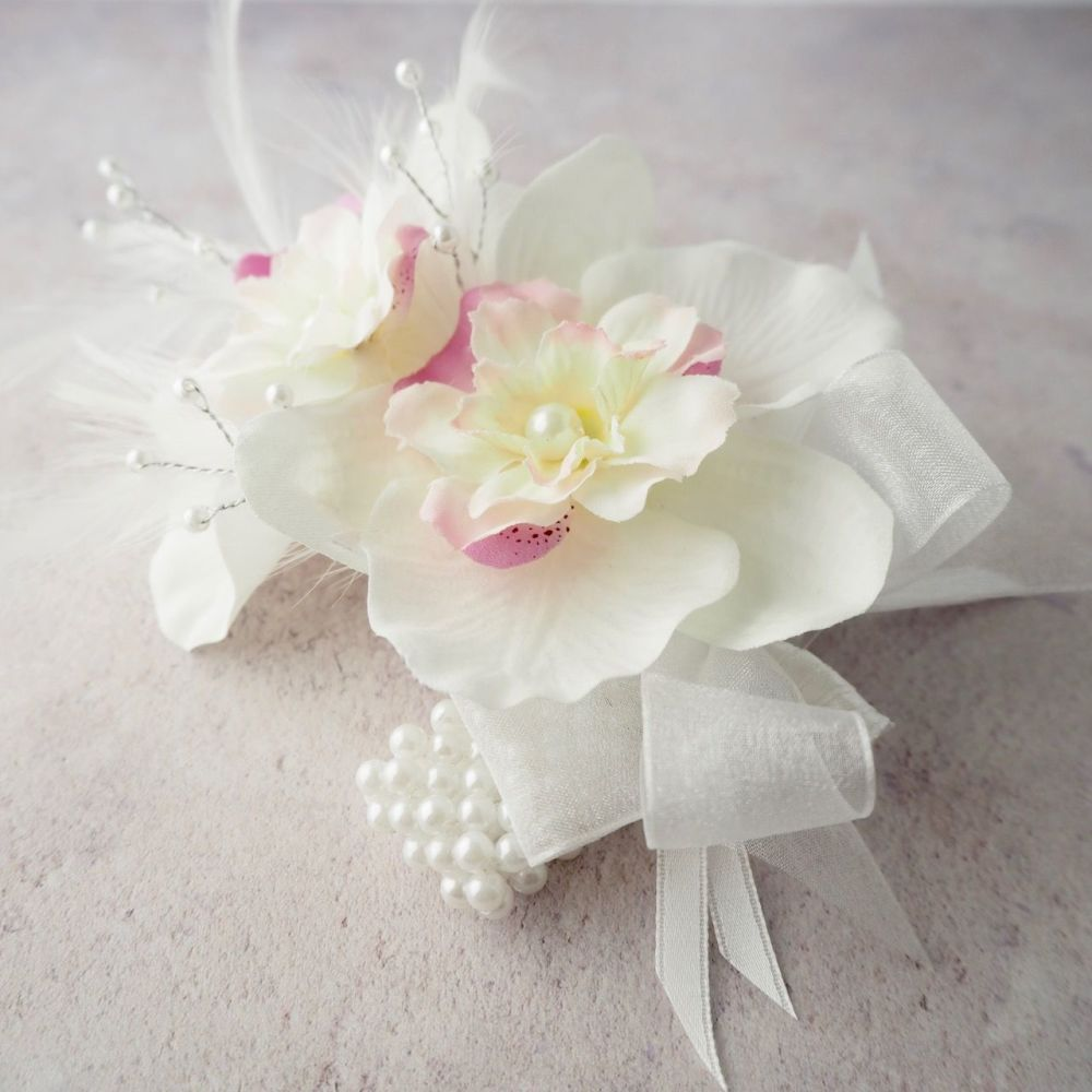 Artificial White Silk Orchid Pink Blossom Pearled Feather Prom Wrist Corsag
