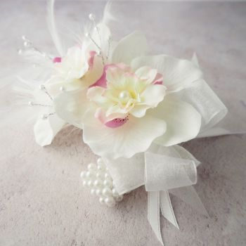 White Orchid Artificial Silk Flower & Feathers Pink Blossom Pearled Band Wrist Corsage