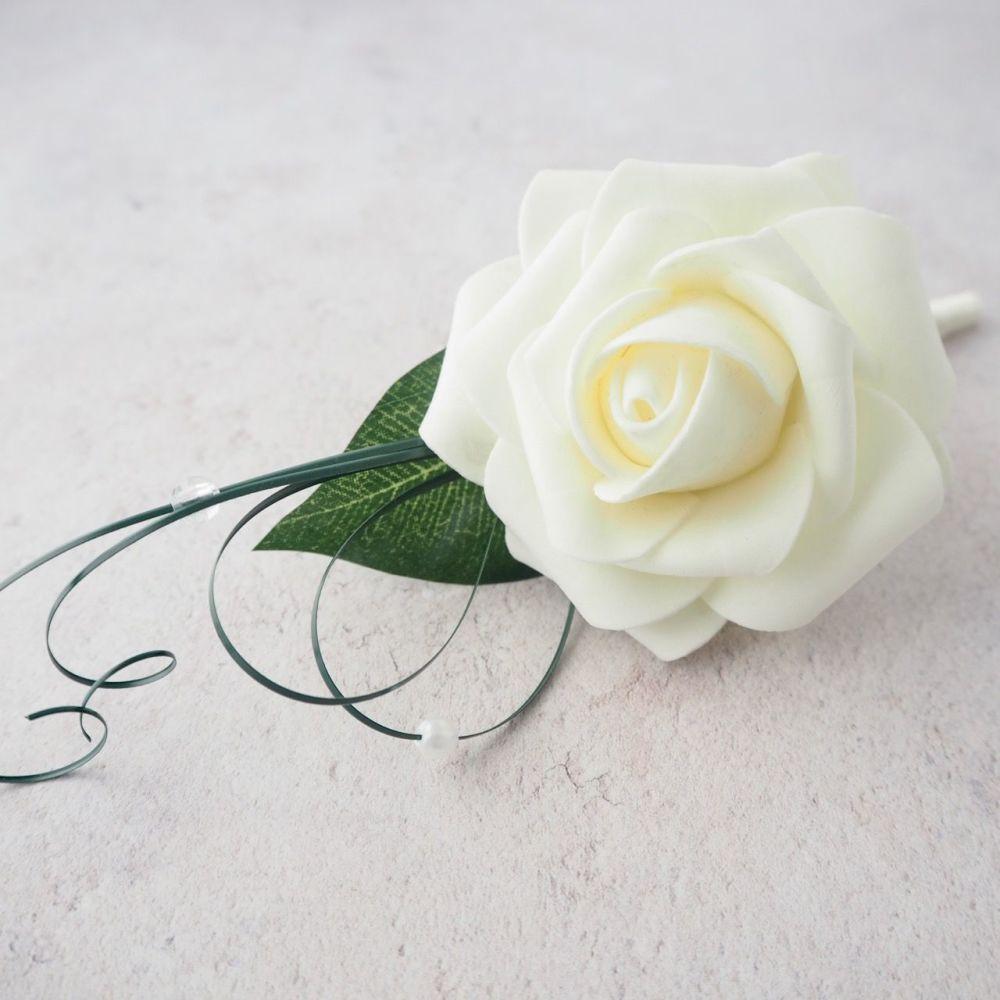 Ivory Open foam Rose Beaded Beargrass Wedding Buttonhole