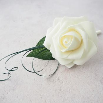 Ivory Foam Open Rose Beaded Beargrass Wedding Buttonhole