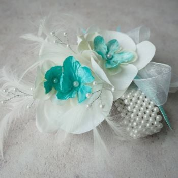 White Orchid Artificial Silk Flower & Feathers Turquoise Pearled  Band Wrist Corsage