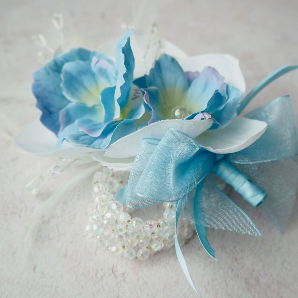 Artificial White Silk Orchid Flower Blue Crystal Beaded Band Prom Wrist Cor