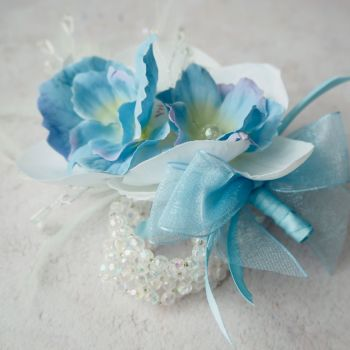 White Orchid Artificial Silk Flower & Feathers Blue Crystal Band Wrist Corsage