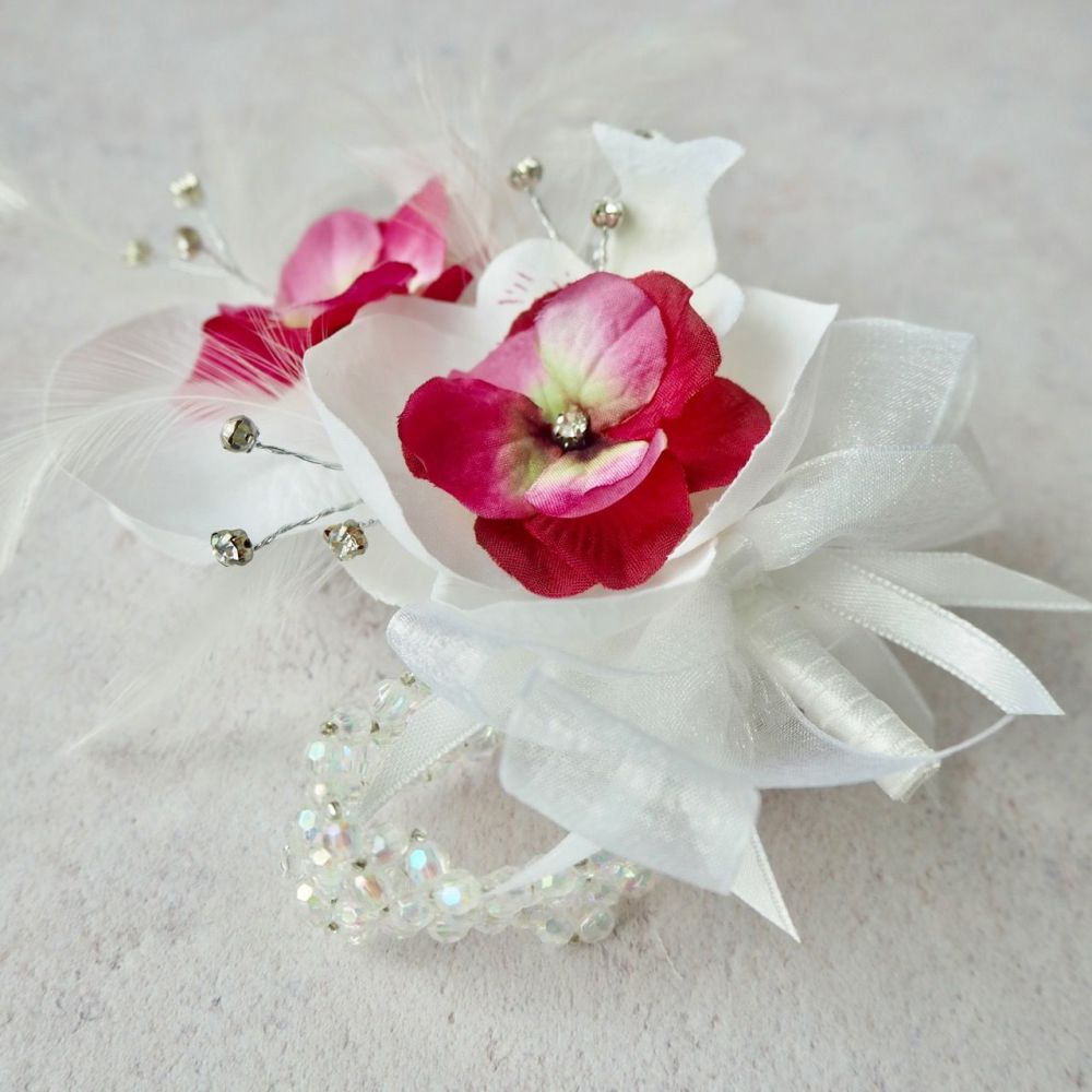 White & Pink Orchid Artificial Silk Flower & Feathers Diamante Crystal Band  Wrist Corsage