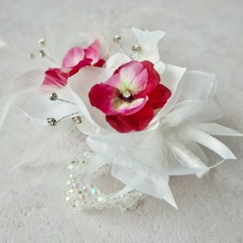 Artificial White Orchid Flower Pink Diamante Crystal Band Prom Wrist Corsage