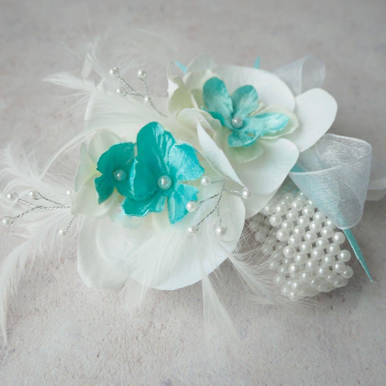 White orchid silk flower wrist corsge