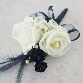 Ivory Foam Roses Navy Feather Silver Diamante Wedding Corsage