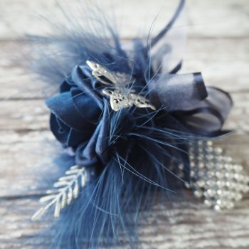 Handmade Foam Navy Rose Butterfly Feathered Pearled Band Prom Wrist Corsage