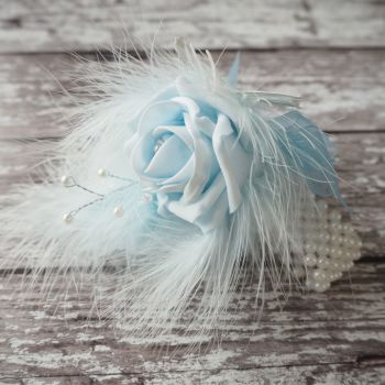 Blue Rose Butterfly Feathered Pearled Band Wedding Wrist Corsage