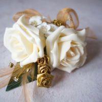 <!--030-->Cream Rose Gold Feathers Gold Diamante Wedding Corsage