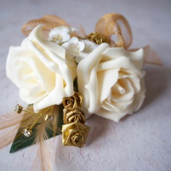 Cream Foam Roses Gold Feathers Gold Diamante  Wedding Corsage