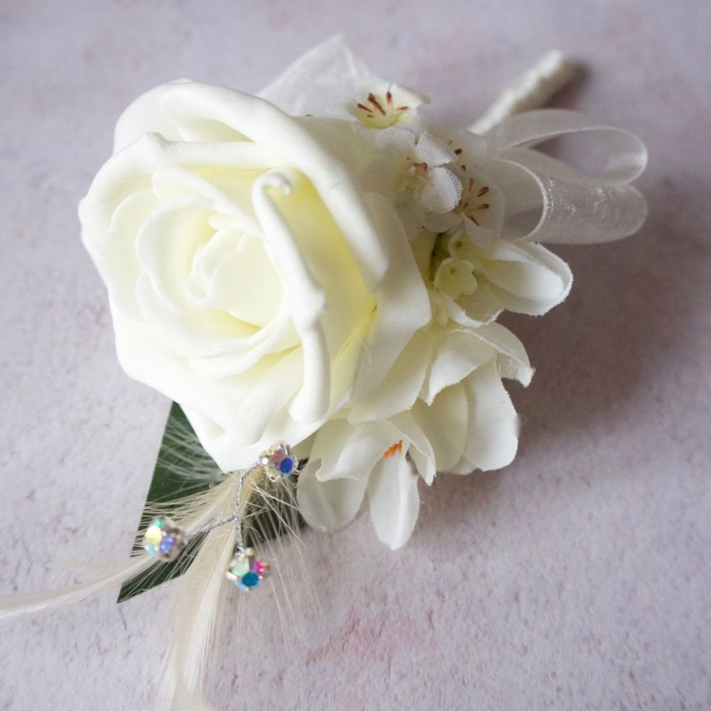 Ivory Foam Rose Freesia Feather Silver Diamante Wedding Corsage
