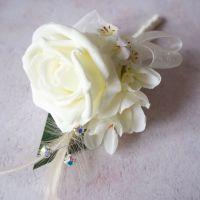 <!--010-->Ivory Rose Freesia Feather Silver Diamante Wedding Corsage
