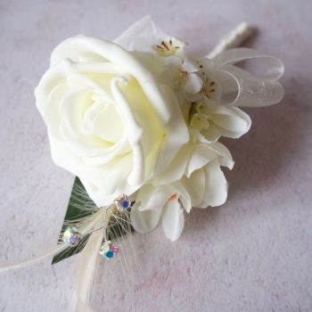 Ivory Rose Freesia Feather Silver Diamante Corsage