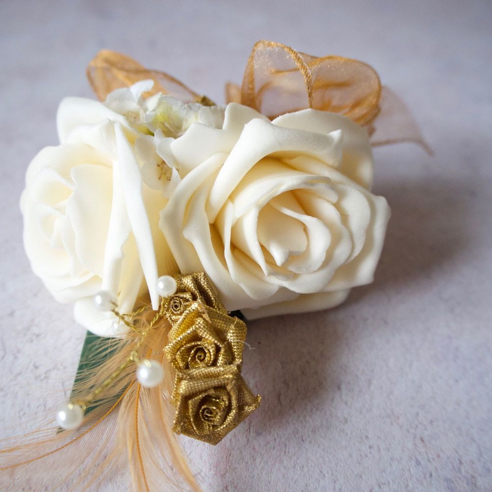 Cream Foam Roses Gold Feathers Gold Pearled Wedding Corsage