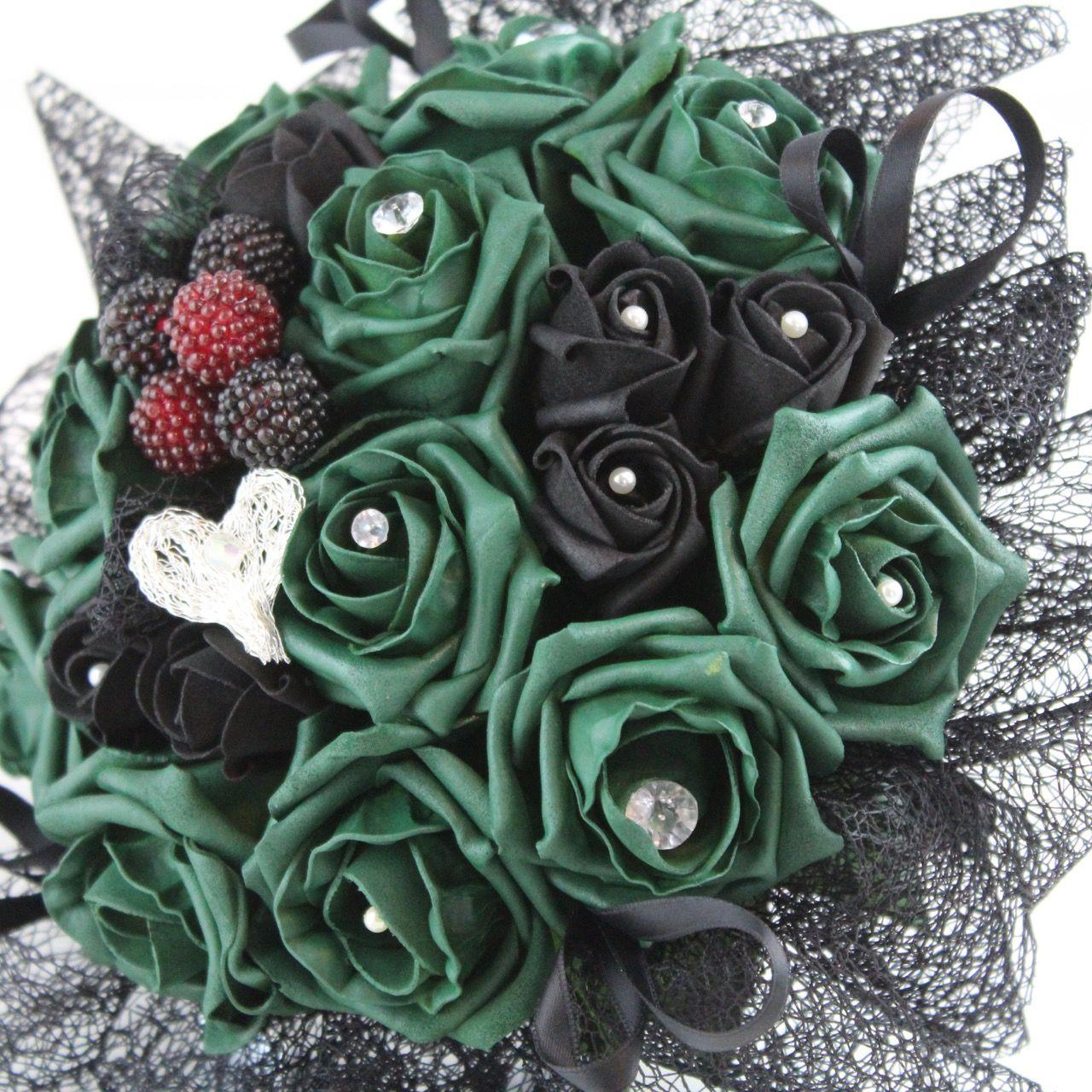 Emerald green & black gothic wedding bouquet