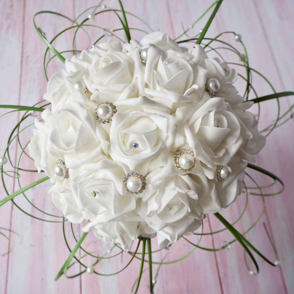 Bridal White Foam Diamante Pearled Roses Beargrass Hand-Tied Bouquet
